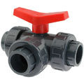 U-PVC 3 way solvent ball valve with T-pattern