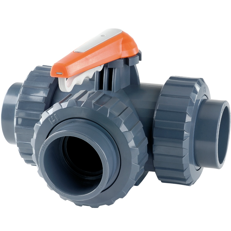U-PVC 3 way solvent ball valve with T-pattern, adjustable