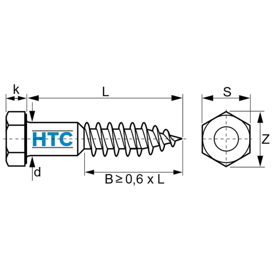 20 Stk Sechskant Holzschrauben 6 mm DIN 571  6 x 110 Edelstahl Profi-Qualität