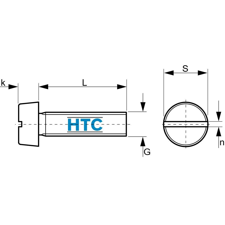 Profi Qualität Zylinderschrauben mit Schlitz 4 mm DIN 84 M 4 x 45 V2A 25 Stk