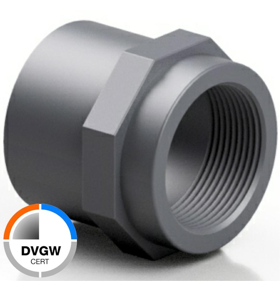 PVC-U Gewindemuffe Klebemuffe x Innengewinde DVGW