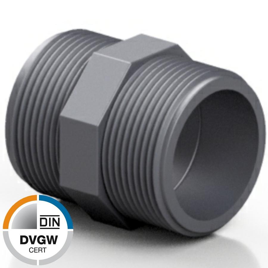 U-PVC male nipple - DVGW
