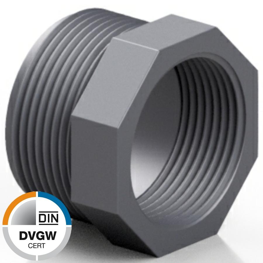 PVC-U Reduzierring Aussen- x Innengewinde DVGW