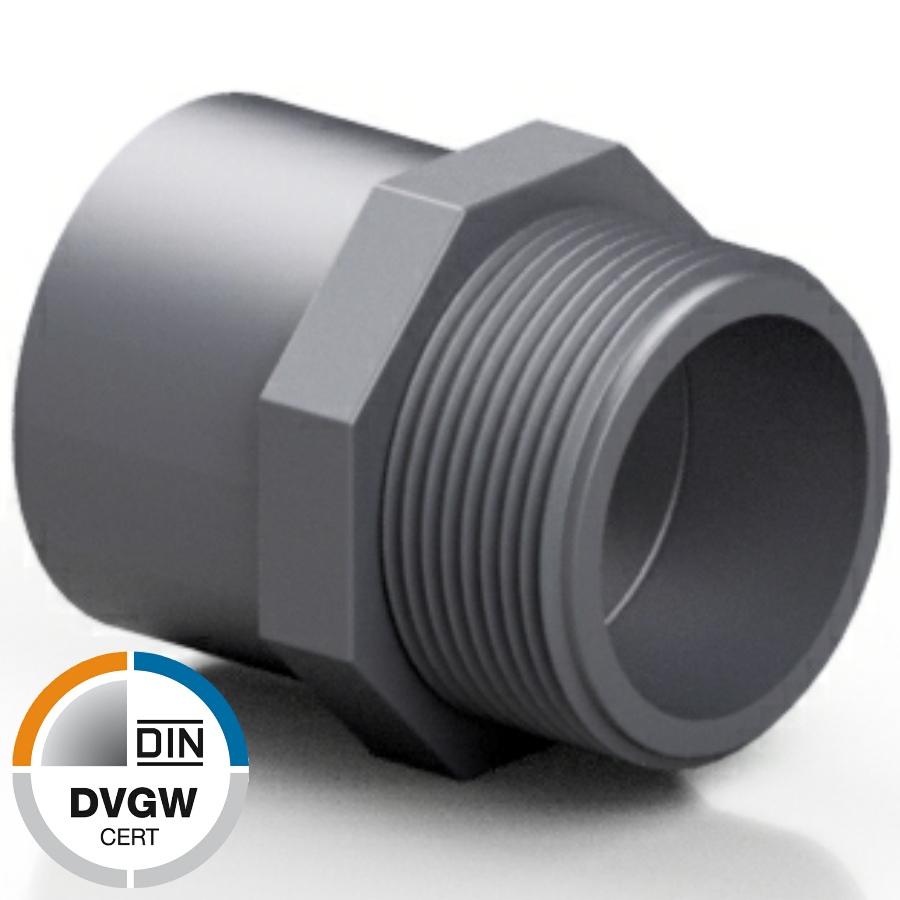 PVC-U Übergangsnippel Klebemuffe/-stutzen x Aussengedwinde DVGW