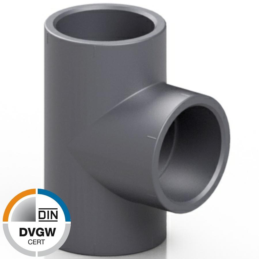 PVC-U T-Stück 90°, 3fach Klebemuffe DVGW