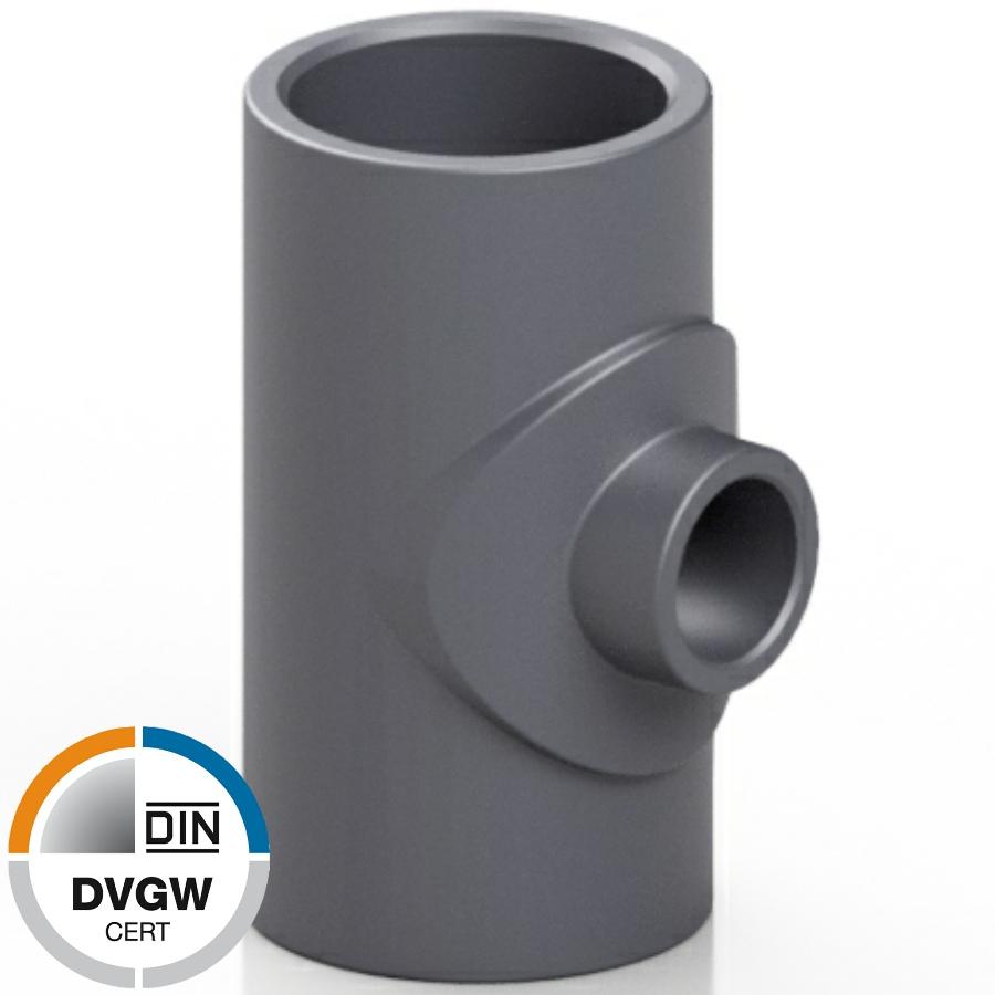 PVC-U T-Stück reduziert, 3fach Klebemuffe DVGW