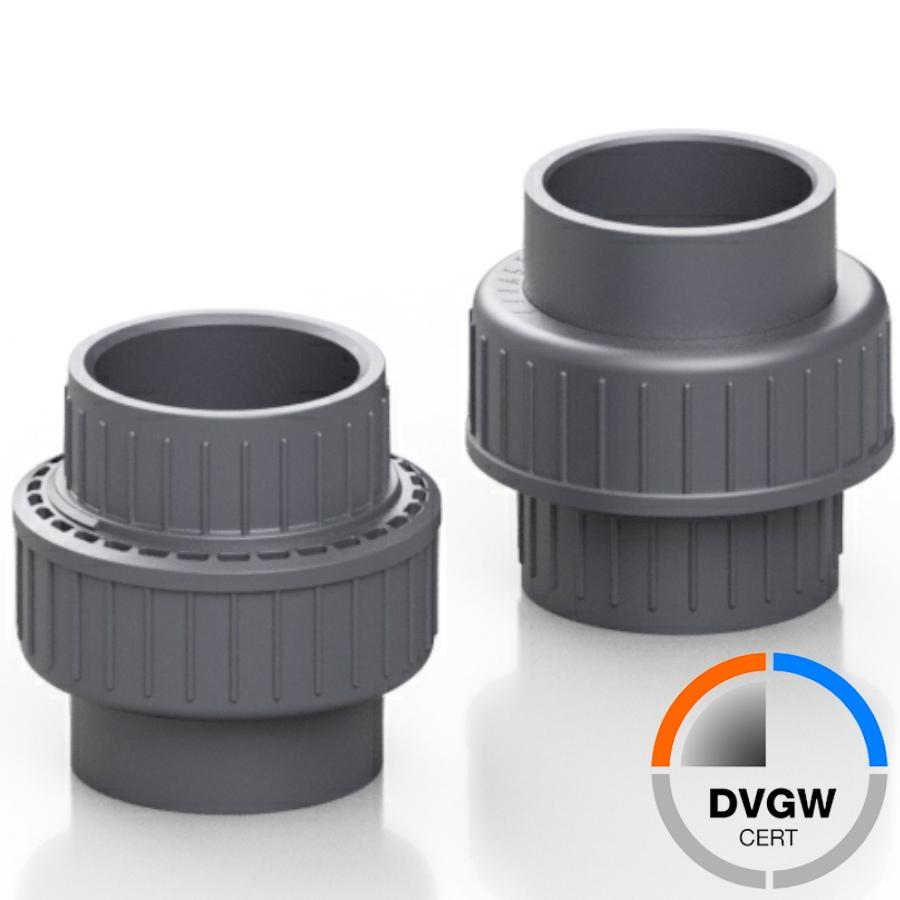 PVC-U Verschraubung DVGW 2fach Klebemuffe