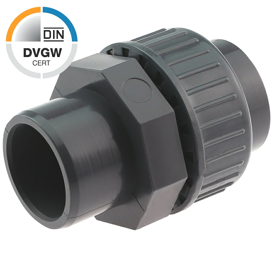 PVC-U Verschraubung DVGW Klebemuffe x Klebemuffe/-stutzen
