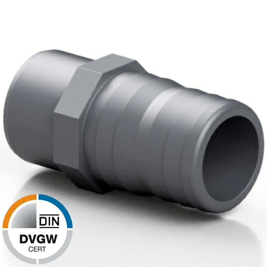 PVC-U Schlauchtülle mit Klebestutzen DVGW