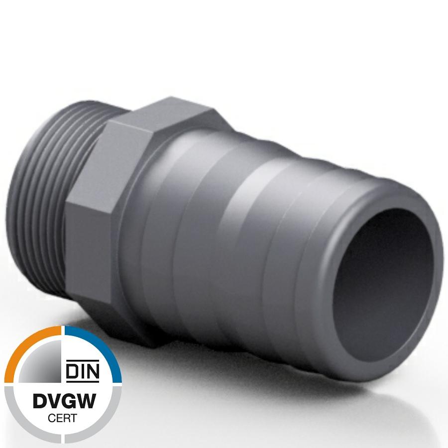 PVC-U Schlauchtülle mit Aussengewinde DVGW