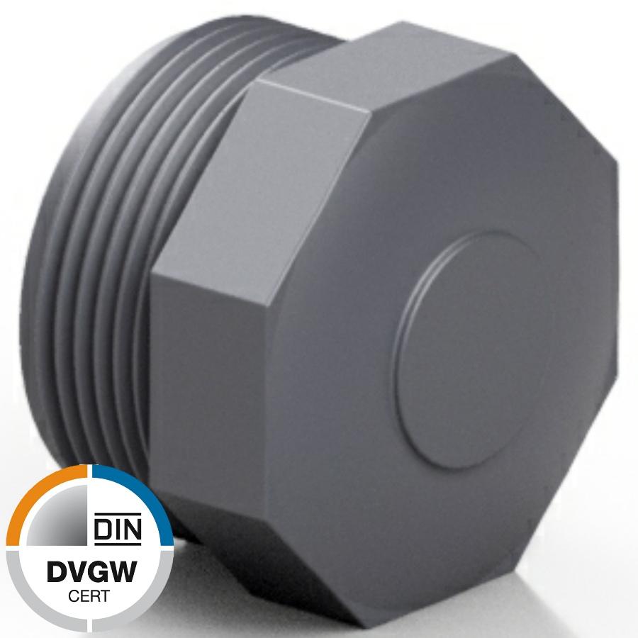 PVC-U Endkappe Gewindestopfen Aussengewinde DVGW