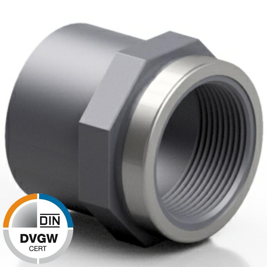 U-PVC solvent socket with female reinforced thread - DVGW