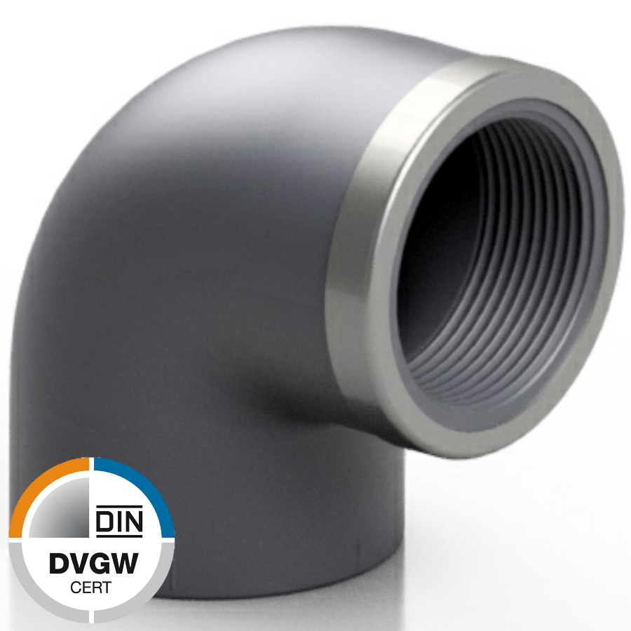 PVC-U Winkel 90° Klebemuffe x Innengewinde verstärkt DVGW
