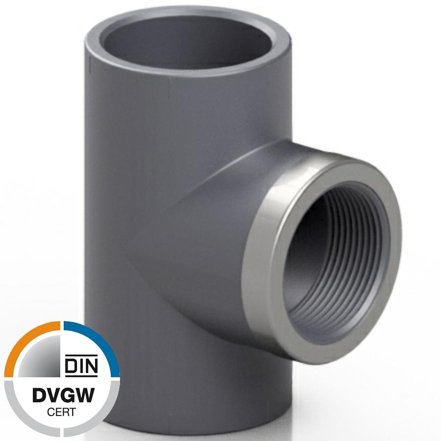 U-PVC solvent tee 90° x reinforced female thread DVGW
