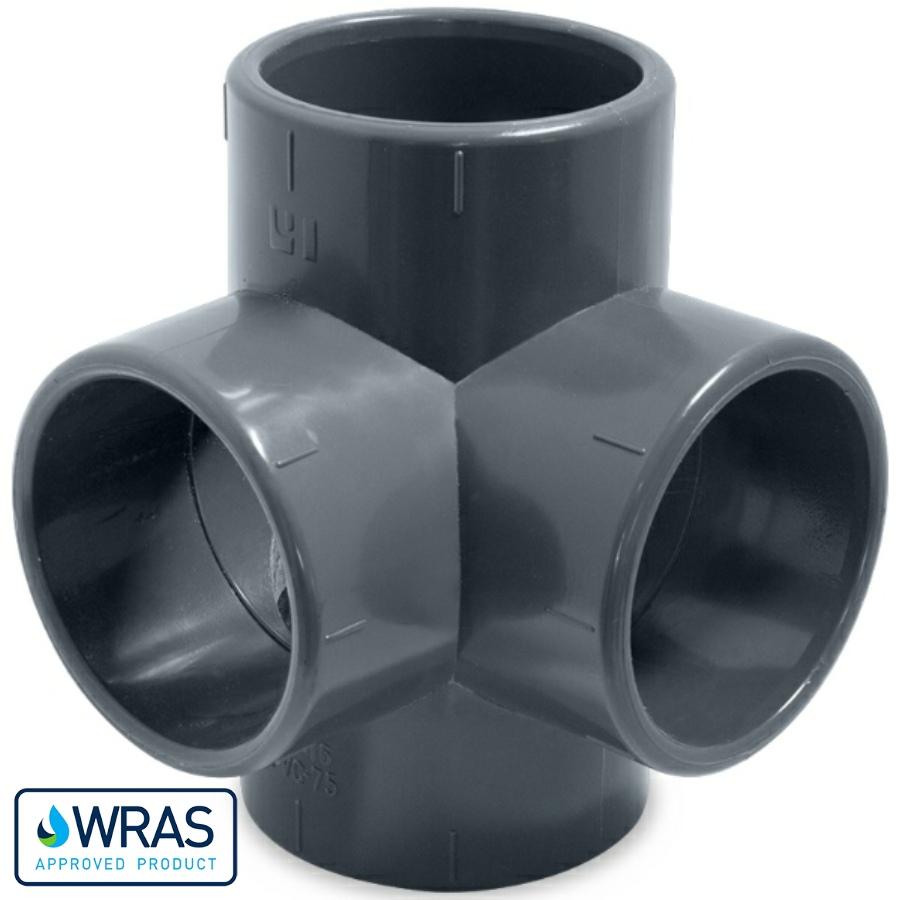 U-PVC fourfold solvent tee 90°