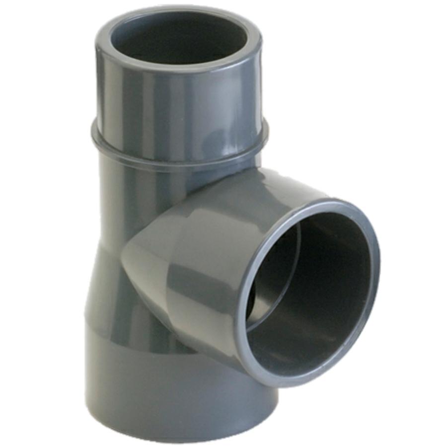 PVC-U T-Stück 90° 2fach Klebemuffe x Klebestutzen/-muffe