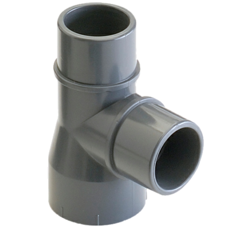 U-PVC solvent tee 90° with two male/female sockets