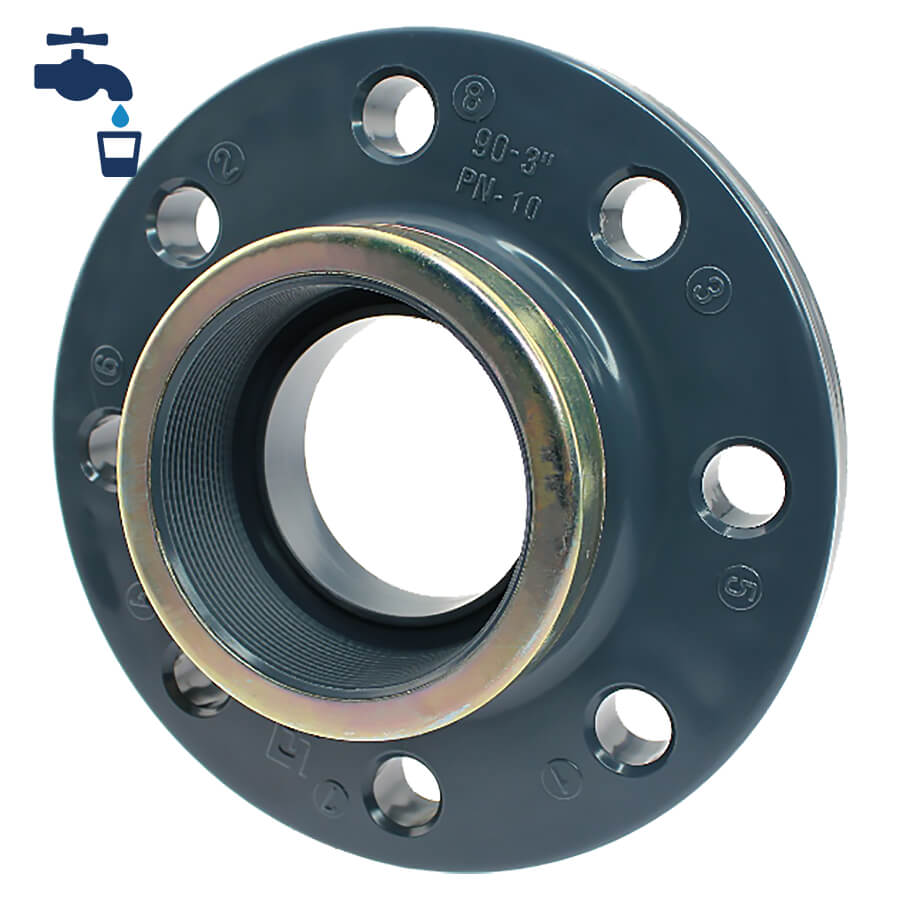PVC-U Festflansch mit Innengewinde V2A Ring