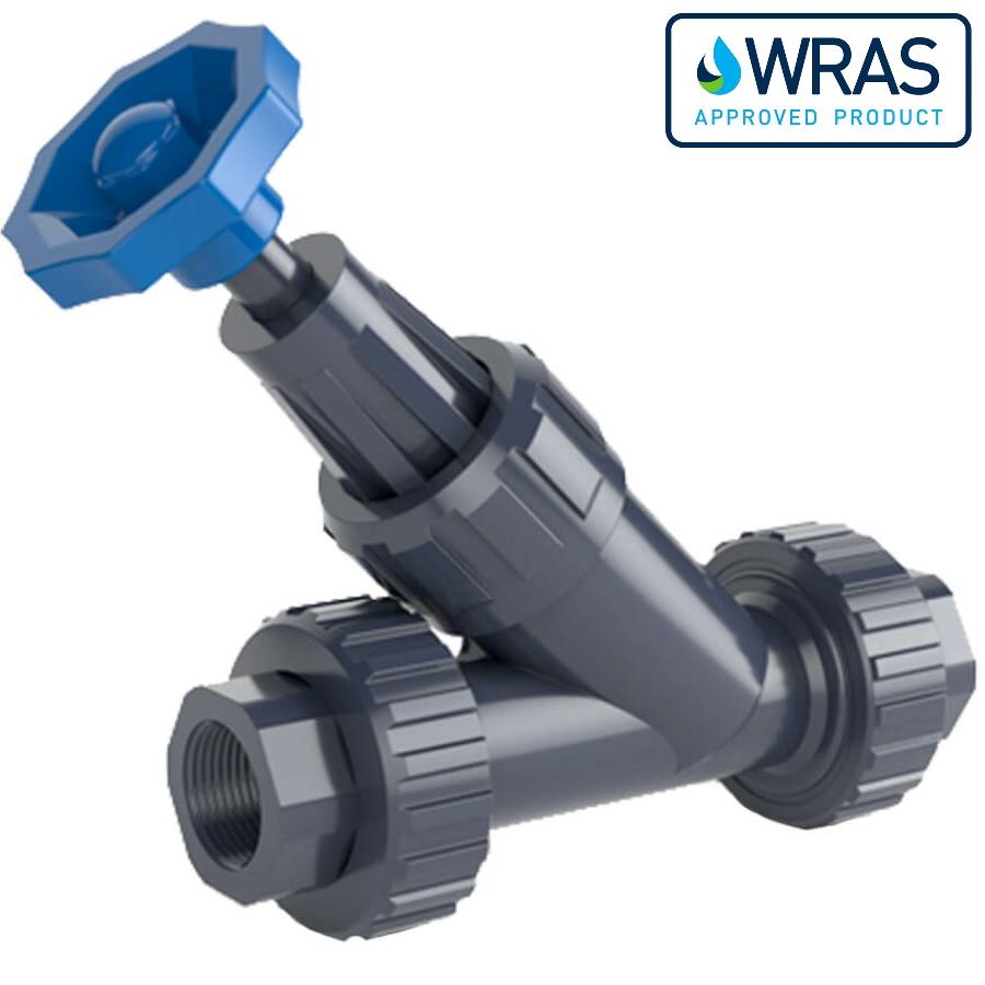 U-PVC angle-seat valve with female thread