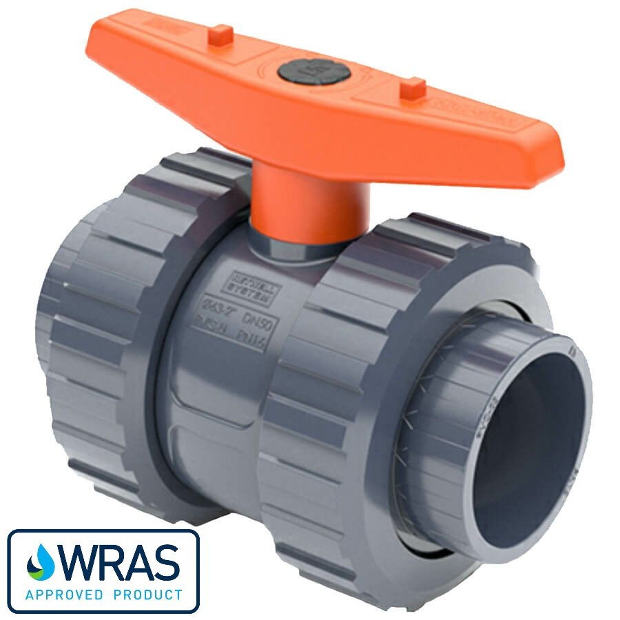 U-PVC and Teflon/EPDM ball valve with solvent sockets WRAS drinking water