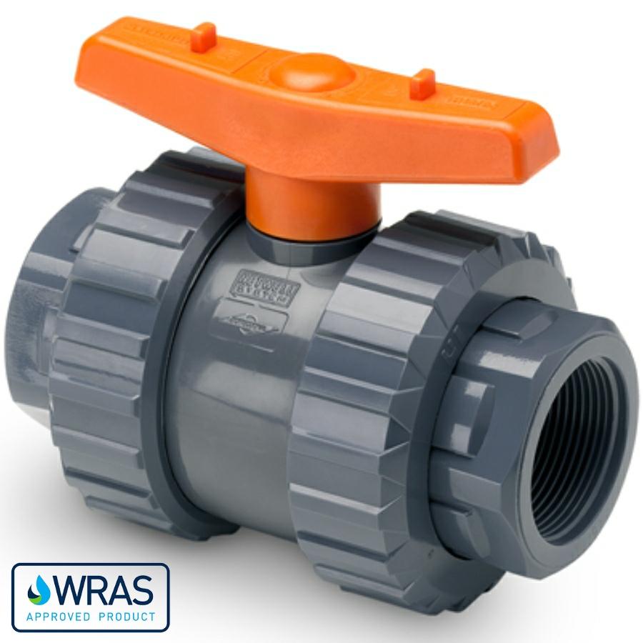 PVC-U Kugelhahn Teflon/EPDM Hidroten 2fach Innengewinde WRAS Trinkwasserzertifikat