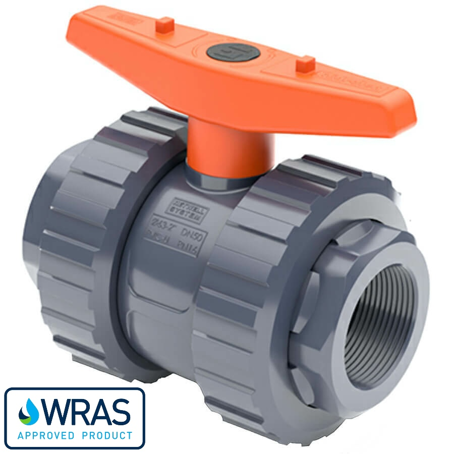 U-PVC and Teflon/EPDM ball valve with female thread WRAS drinking water