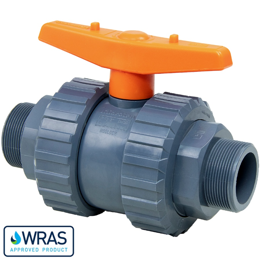 U-PVC and Teflon/EPDM ball valve with male thread WRAS drinking water