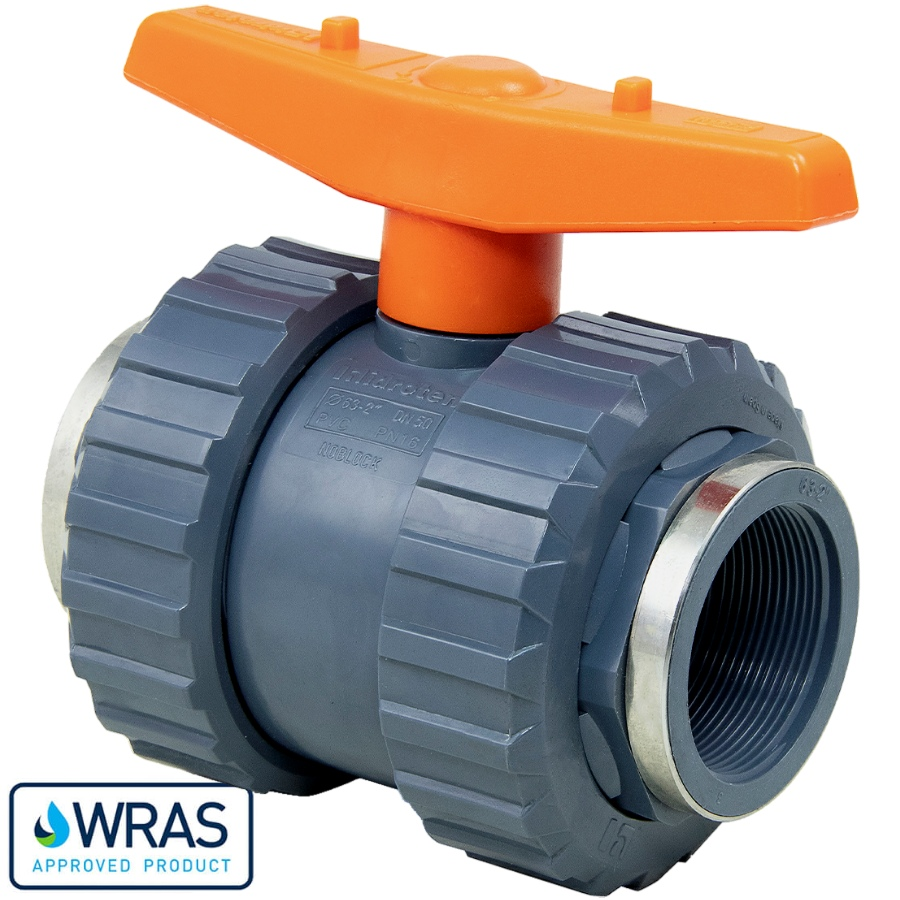 U-PVC and Teflon/EPDM ball valve with reinforced female thread WRAS drinking water