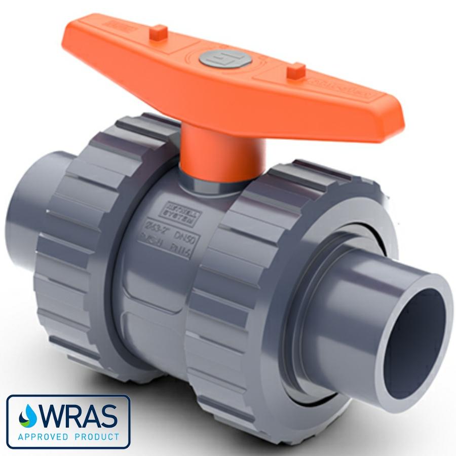PVC-U Kugelhahn Teflon/EPDM Hidroten 2fach Klebestutzen WRAS Trinkwasserzertifiziert