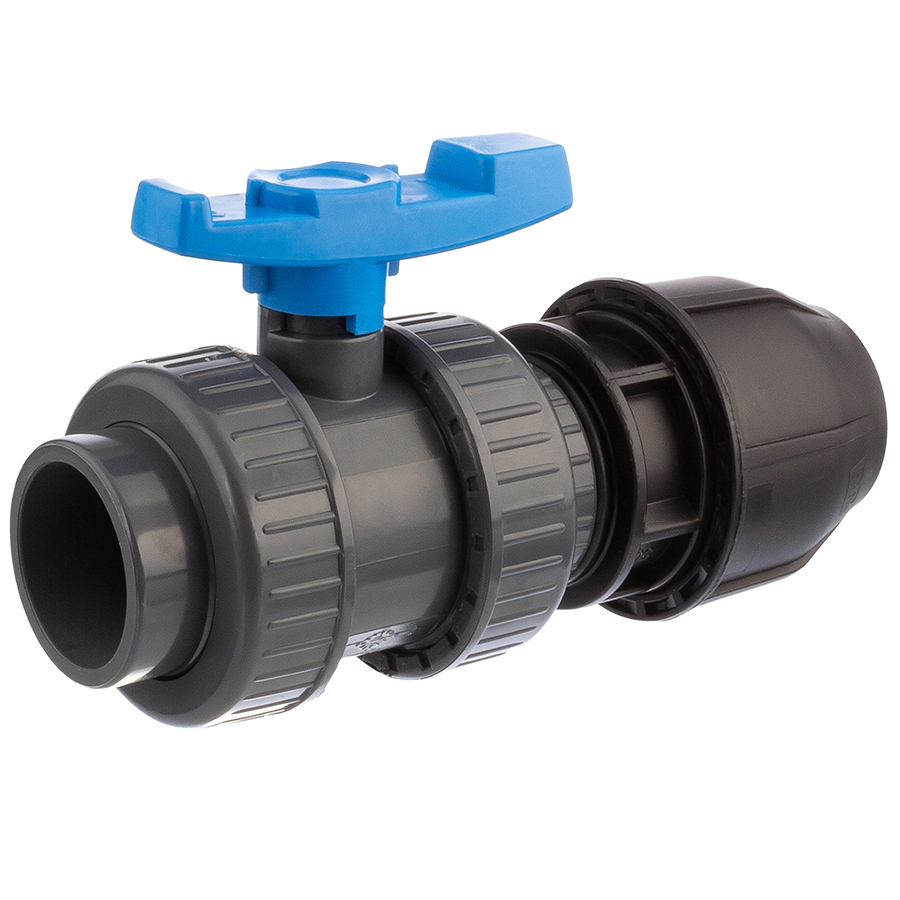 U-PVC and HDPE 2 way solvent ball valve x PP compression fitting for PE-pipes
