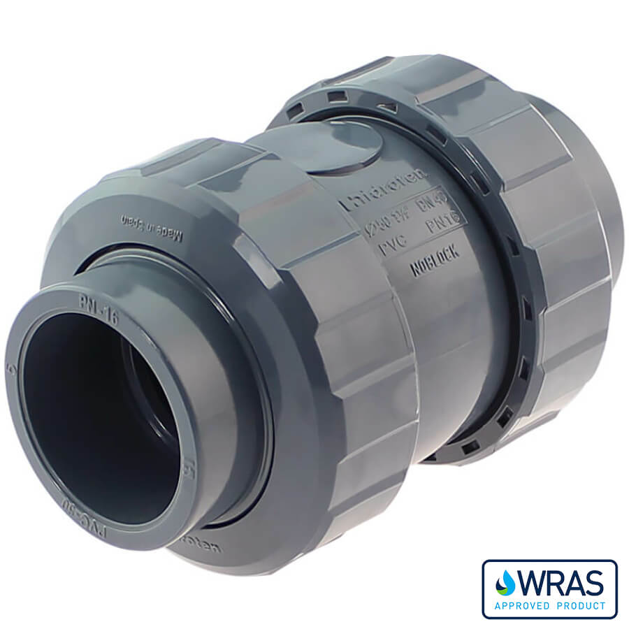 U-PVC solvent check valve with nuts