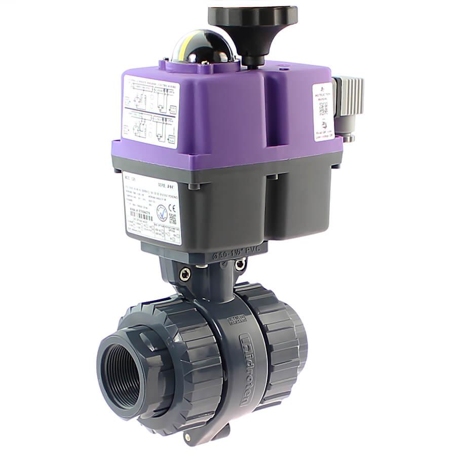U-PVC 2 way female thread ball valve with electrical actuator 24 - 240 AC/DC