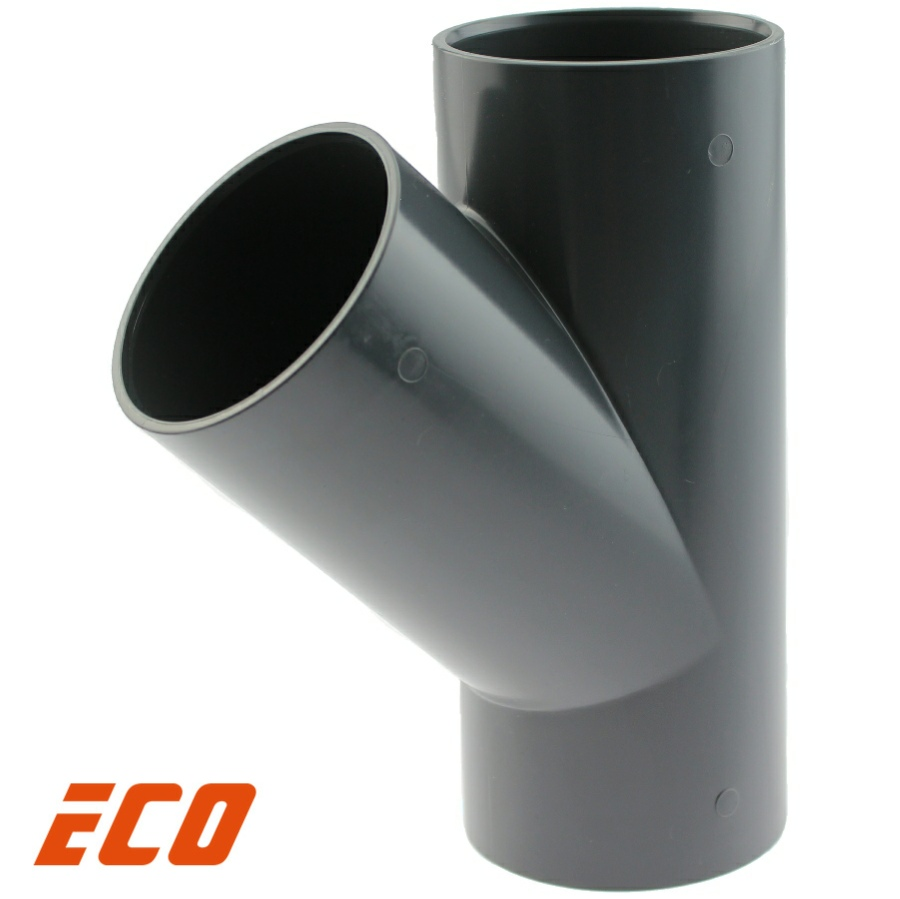 PVC-U T-Stück 45° ECO, 3fach Klebemuffe