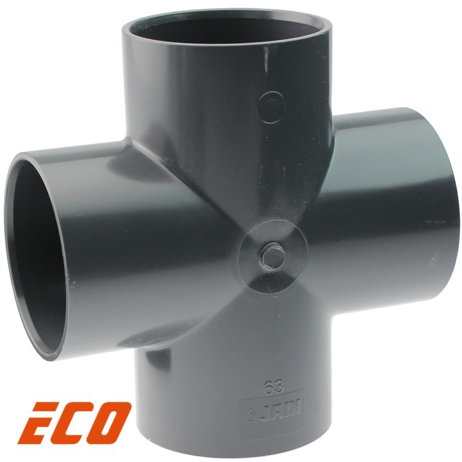 PVC-U Kreuz-Stück ECO, 4fach Klebemuffe