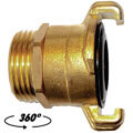 Brass quick bayonet coupling 360° with male thread