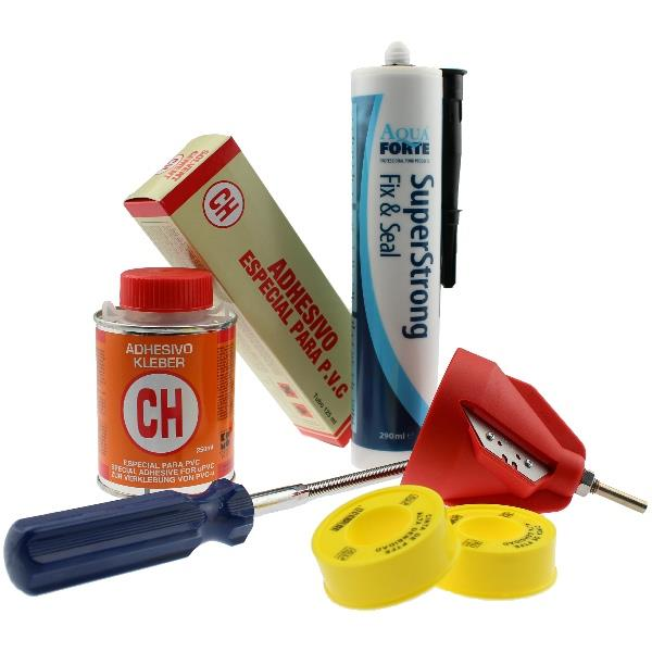 Adhesive, detergent, sealing and tools
