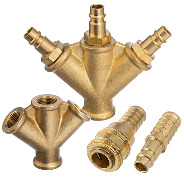 Compressed air brass quick coupling and plug nipples