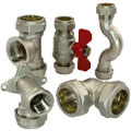Brass compression fittings for copper and steel pipes