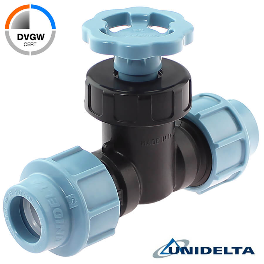 PP straight valve with compression fittings, DVGW Unidelta
