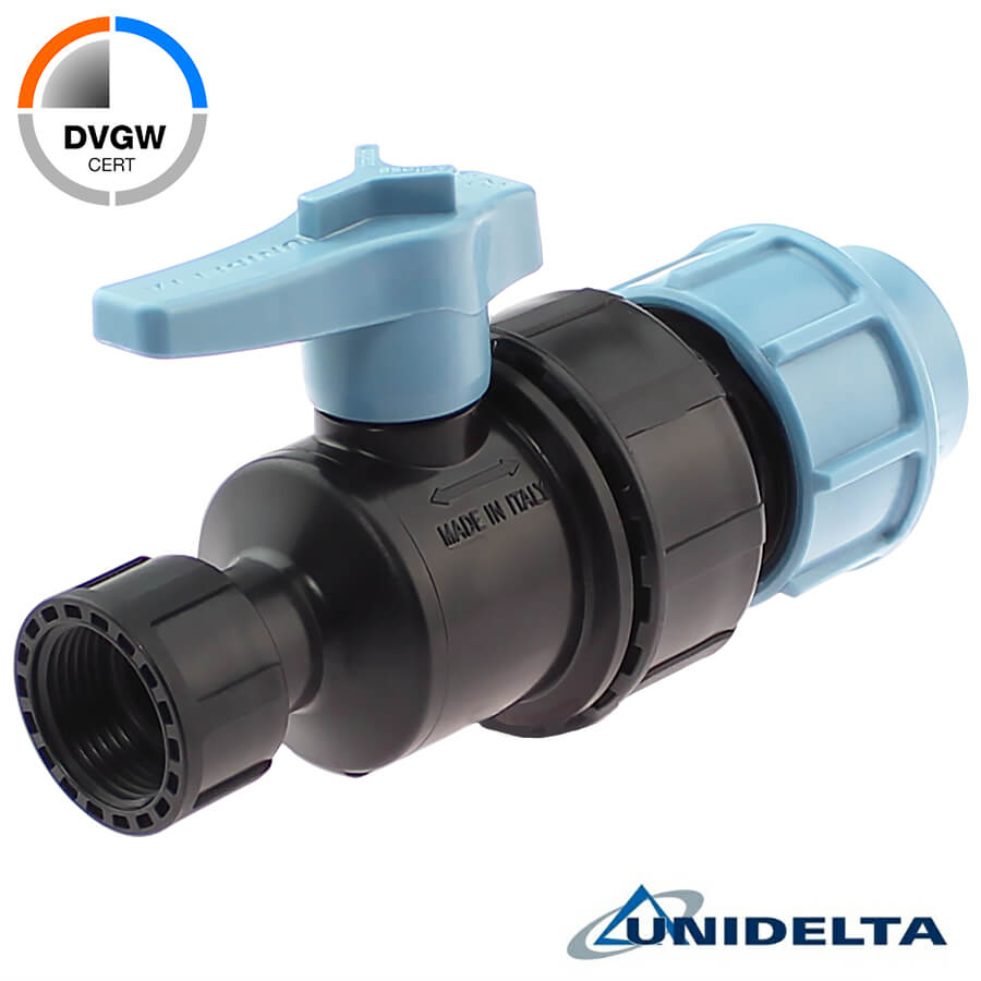 PP 2 way ball valve compression fitting x female thread with nut, DVGW