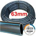 PE Rohr Druckrohr 63 x 5,8mm DVGW 16 bar, Rollen- und Stangenware