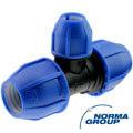 PP T-Stück 90° reduziert DVGW 3fach Klemme
