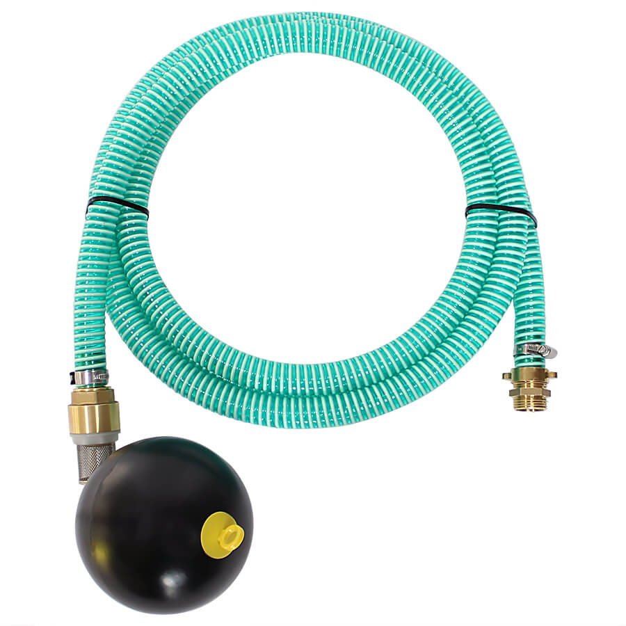 Suction hose set with threaded coupling and floating ball