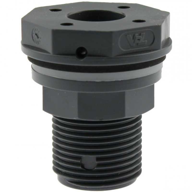 U-PVC tank connector for floor drains with flat outlet