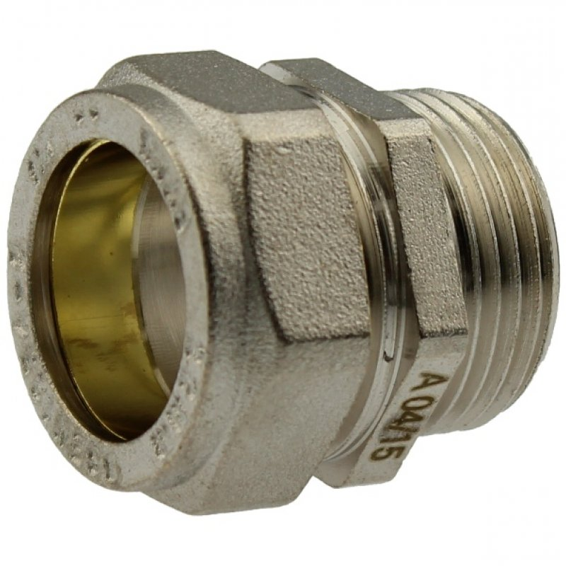 Brass adapter compression fitting x male thread, for copper and steel pipes