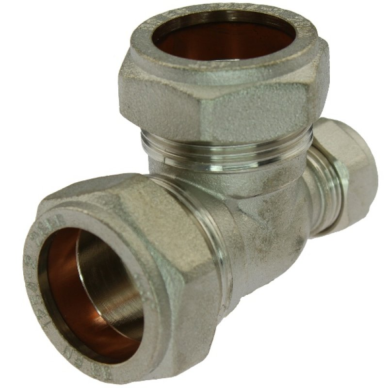 Brass reducing tee 90° compression fitting, for copper and steel pipes