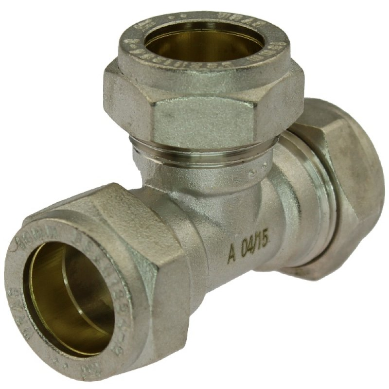 Brass tee 90° compression fitting, for copper and steel pipes