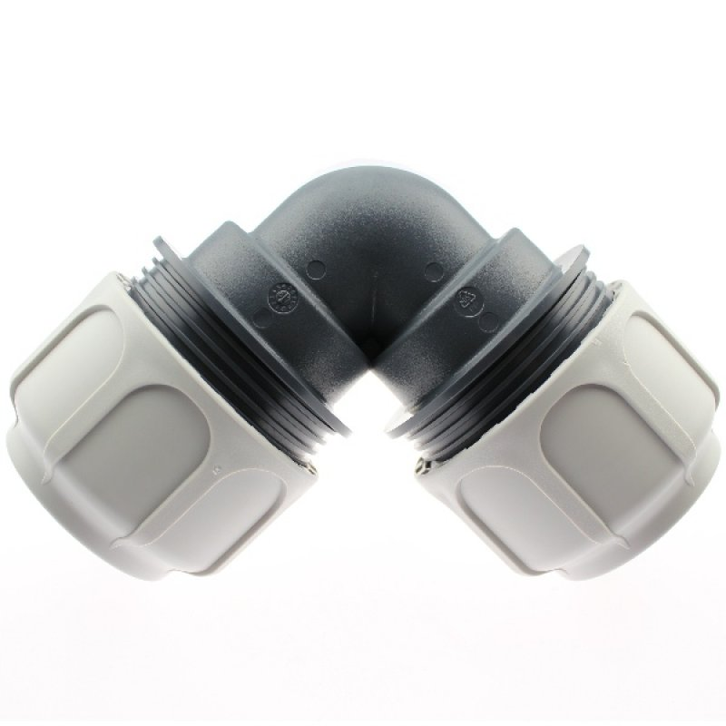 Compression fitting 90° BD FAST for PoolFlex solvent flexible pipes