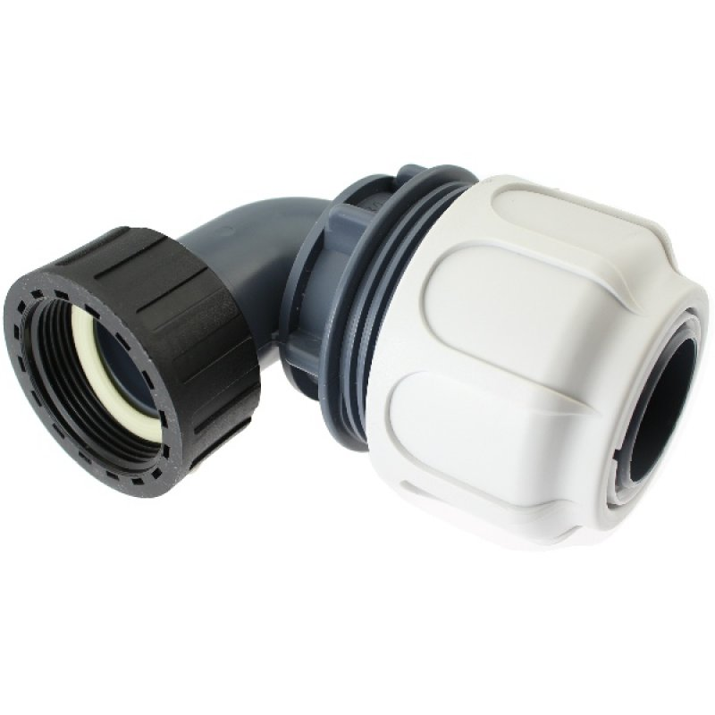 Compression fitting 90° BD FAST with female thread for PoolFlex solvent flexible pipes
