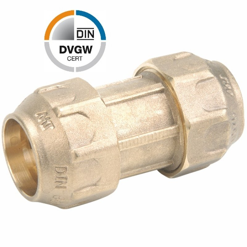Brass compression fitting, DVGW